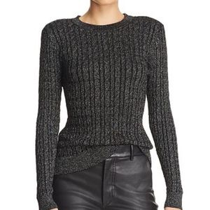 Milly Shimmer Cable Knit Metallic Sweater